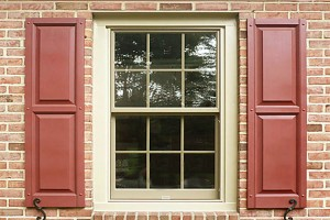 Pella Double Hung Wood Window & Mastic Vinyl Shutters